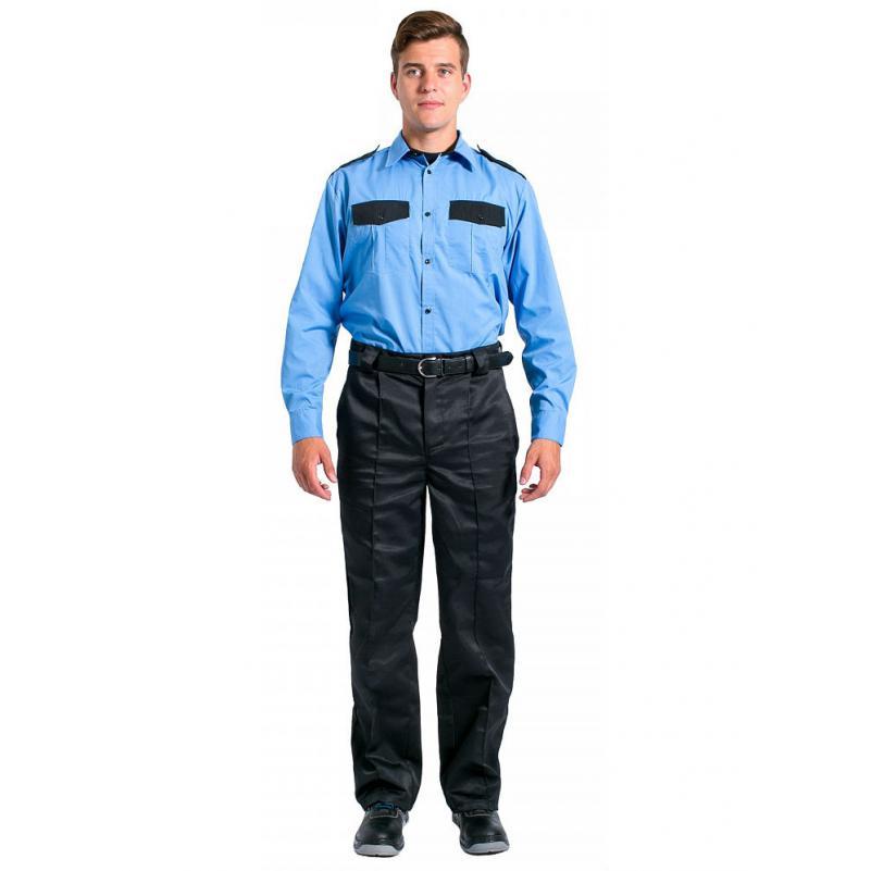 Рубашка охранника на резинке с длинным рукавом мужская, голубой