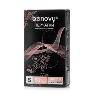 Перчатки BENOVY™ виниловые неопудренные 4,0 гр. (50 пар), прозрачный